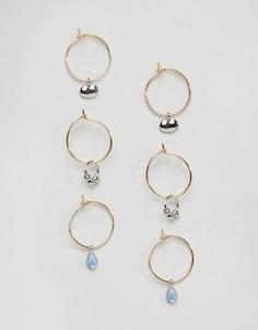 Набор из 3 пар сережек-колец с подвесками ASOS - Золотой