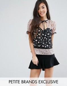 Блузка с комбинированным принтом и кружевной отделкой Fashion Union Petite - Мульти