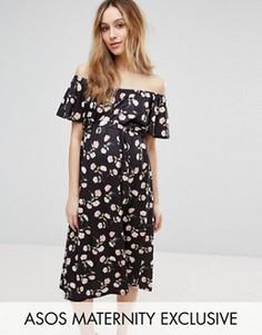 Платье миди с открытыми плечами и цветочным принтом ASOS Maternity - Мульти