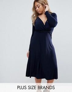 Платье миди с запахом Club L Plus - Темно-синий