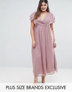 Шифоновое платье миди с оборками Truly You - Серый
