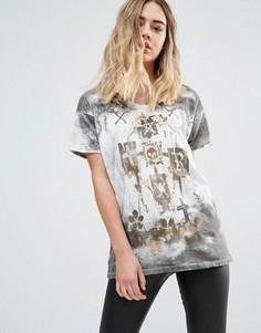 Свободная футболка с принтом Religion - Белый