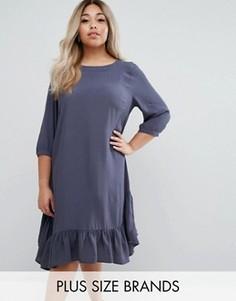 Свободное платье с оборкой по краю Junarose - Синий