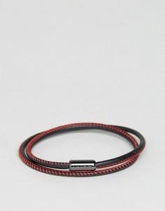 Черно-красный кожаный браслет в несколько оборотов BOSS by Hugo Boss - Черный
