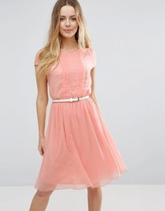 Короткое приталенное платье с отделкой плиссе Jasmine - Розовый