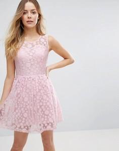 Короткое приталенное платье в горошек Jasmine - Розовый
