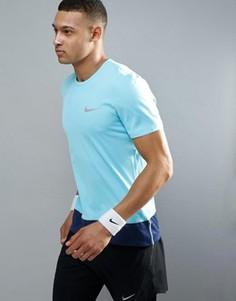 Синяя футболка Nike Running Breathe 833608-432 - Синий
