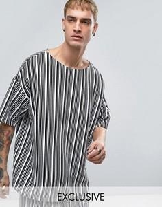 Свободная футболка в полоску Reclaimed Vintage Inspired - Черный