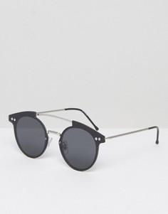Круглые солнцезащитные очки с черными стеклами Spitfire - Серебряный