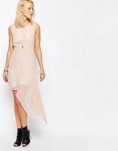 Короткое приталенное платье с асимметричным краем Religion Final - Розовый