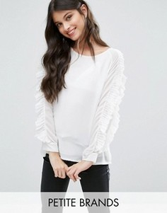 Блузка с оборками на рукавах Boohoo Petite - Белый