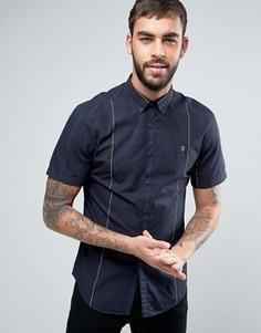Темно-синяя узкая рубашка в клетку на пуговицах с короткими рукавами Farah Brewer - Темно-синий