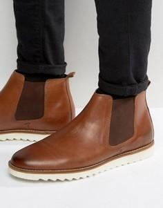 Светло-коричневые кожаные ботинки челси на белой подошве ASOS - Рыжий