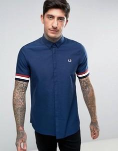 Темно-синяя рубашка с коротким рукавом и полосками на манжетах Fred Perry - Темно-синий