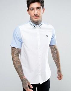 Белая рубашка с короткими рукавами и полосками на воротнике Fred Perry - Белый