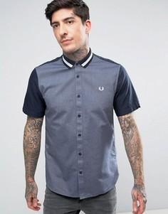 Темно-синяя рубашка с короткими рукавами и полосатым воротником Fred Perry - Темно-синий