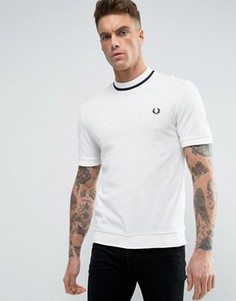 Белая футболка из пике с темно-синей окантовкой Fred Perry REISSUES - Белый