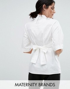 Строгая рубашка с поясом Mamalicious - Белый Mama.Licious