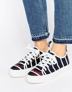 Полосатые кроссовки на платформе Love Moschino - Черный