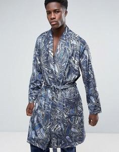 Велюровый халат с принтом пейсли ASOS - Синий