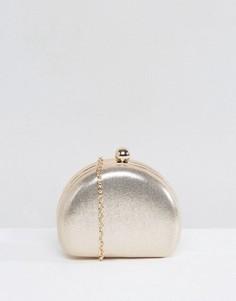Блестящий клатч с застежкой на защелку Chi Chi London - Серебряный
