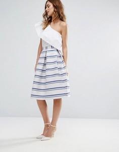 Жаккардовая юбка для выпускного в блестящую полоску Closet - Мульти