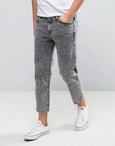 Серые укороченные джинсы с эффектом кислотной стирки Dr Denim Otis - Серый