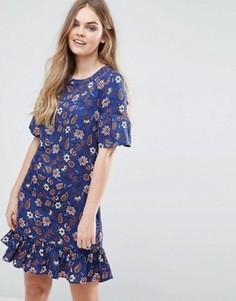 Цельнокройное платье с принтом и оборками на рукавах Vila - Темно-синий