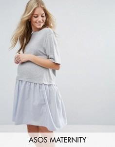 Свободное платье-футболка ASOS Maternity - Серый