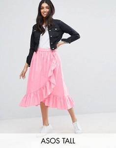 Хлопковая юбка миди с оборкой и запахом ASOS TALL - Розовый