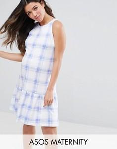 Платье в голубую клетку с заниженной талией ASOS Maternity - Мульти