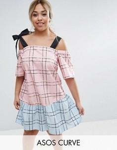 Комбинируемое хлопковое платье в клетку с открытыми плечами ASOS CURVE - Мульти