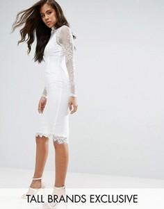 Кружевное платье миди с высоким воротом Missguided Tall - Белый