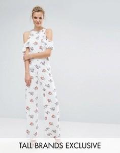 Комбинезон с цветочным принтом и вырезами на плечах Fashion Union Tall - Мульти