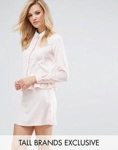 Платье с длинными рукавами и оборкой Fashion Union Tall - Розовый