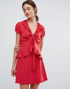 Блузка в горошек с оборками Newlily - Красный