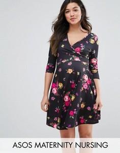 Платье с запахом и мелким цветочным принтом для кормящих мам ASOS Maternity - Мульти