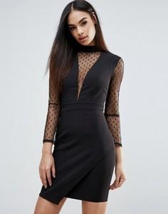 Платье в сетчатый горошек Girls On Film - Черный