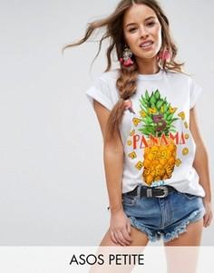 Футболка с ананасом и нашивками в винтажном стиле ASOS PETITE - Мульти
