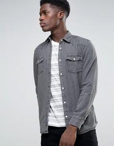 Джинсовая рубашка с длинными рукавами Selected - Серый