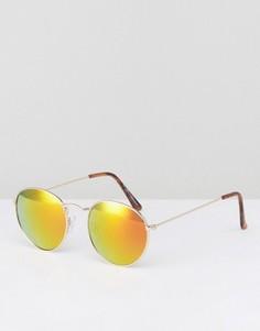 Золотистые солнцезащитные очки в круглой оправе New Look - Золотой