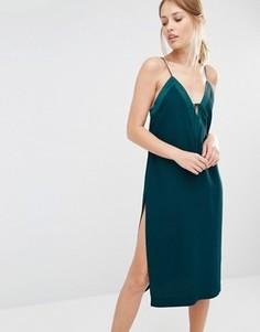 Платье-комбинация со шнуровкой Finders Keepers - Зеленый