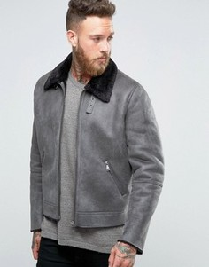 Серая куртка из искусственной цигейки ASOS - Серый