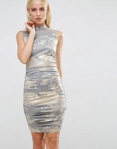 Присборенное платье мини с эффектом металлик AX Paris - Золотой