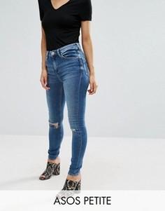 Рваные джинсы скинни из стираного денима ASOS PETITE Ridley - Синий