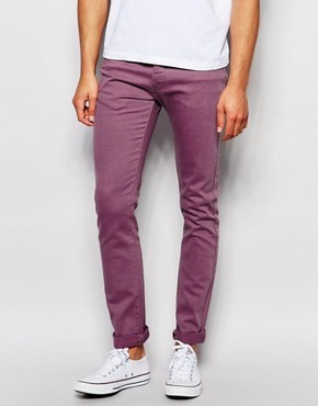 Выбеленные бордовые супероблегающие джинсы LDN DNM - Коричневый
