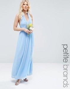 Шифоновое платье макси с халтером TFNC Petite WEDDING - Синий