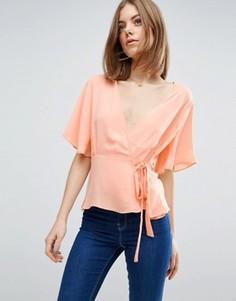 Блузка с запахом спереди ASOS - Розовый