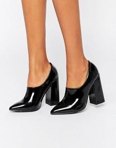 Блестящие туфли на каблуке с высокой союзкой Daisy Street - Черный