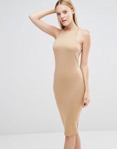 Платье миди с вырезом AX Paris - Коричневый